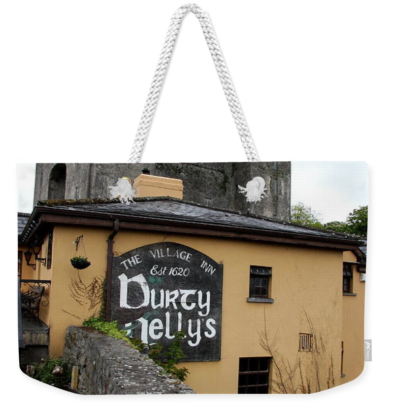 Pub Weekender Tote Bag featuring the photograph Durty Nellys And Bunraty Castle by Christiane Schulze Art And Photography