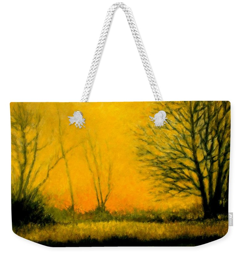 Landscape Weekender Tote Bag featuring the painting Dusk at the Refuge by Jim Gola