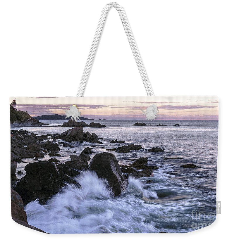 West Quoddy Head Lighthouse Weekender Tote Bag featuring the photograph Dusk At West Quoddy Head Light by Marty Saccone