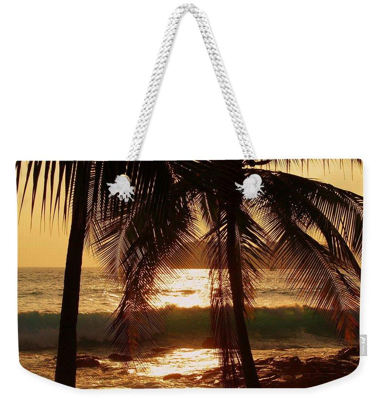 Hawaii# Hawaiian Sunset Weekender Tote Bag featuring the photograph Dusk by Athala Bruckner