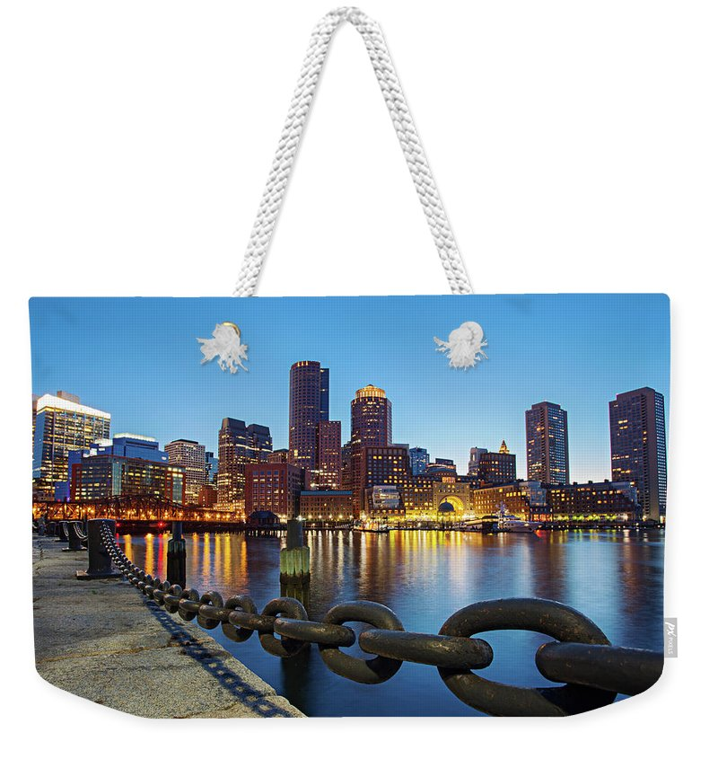 Clear Sky Weekender Tote Bag featuring the photograph Dusk In Boston by Photography By Nick Burwell