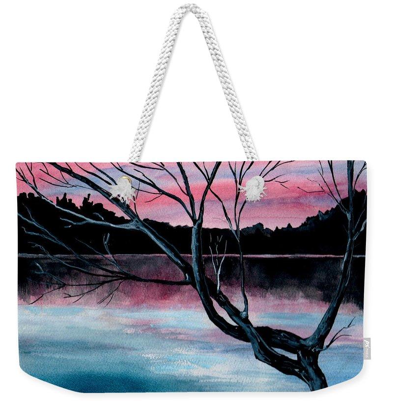 Landscape Weekender Tote Bag featuring the painting Dusk Lake Arrowhead Maine by Brenda Owen