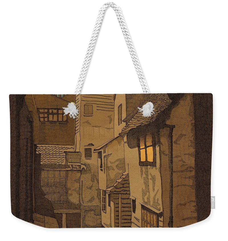 Alley Old Architecture Victorian London Weekender Tote Bag featuring the drawing Dusk by Meg Shearer