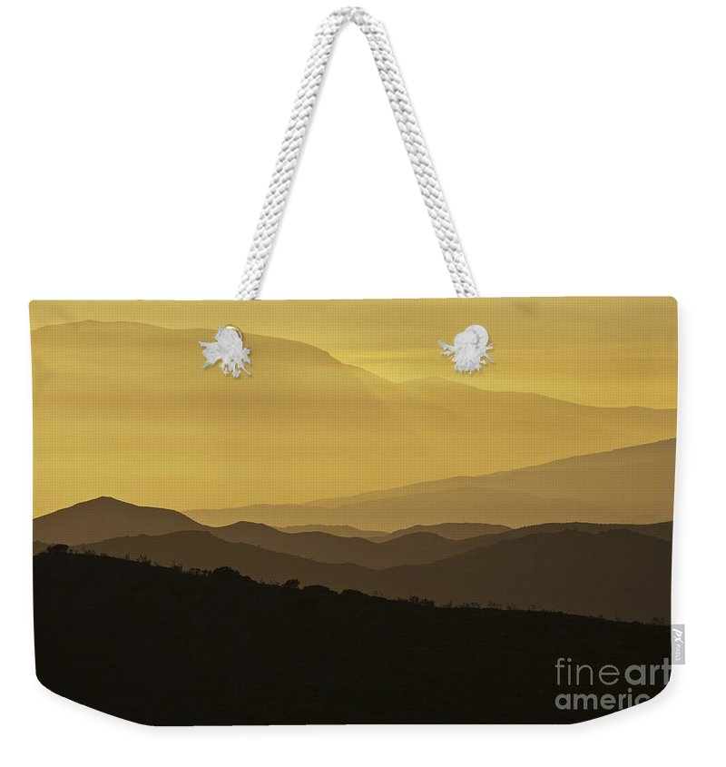 Landscape Weekender Tote Bag featuring the photograph Dusk Over The Spanish Hills Of Andalusia by Heiko Koehrer-Wagner
