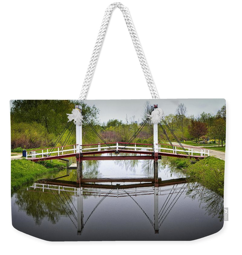 Art Weekender Tote Bag featuring the photograph Dutch Supension Bridge On Windmill Island by Randall Nyhof