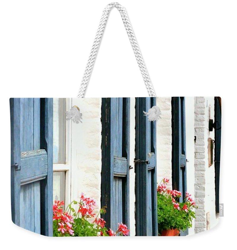 Dutch Windows Weekender Tote Bag featuring the photograph Dutch Window Boxes by Carol Groenen