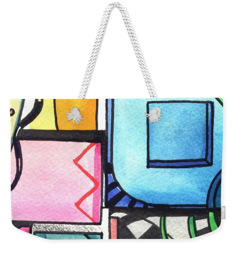 Geometric Weekender Tote Bag featuring the painting Dwelling In The Square by Helena Tiainen