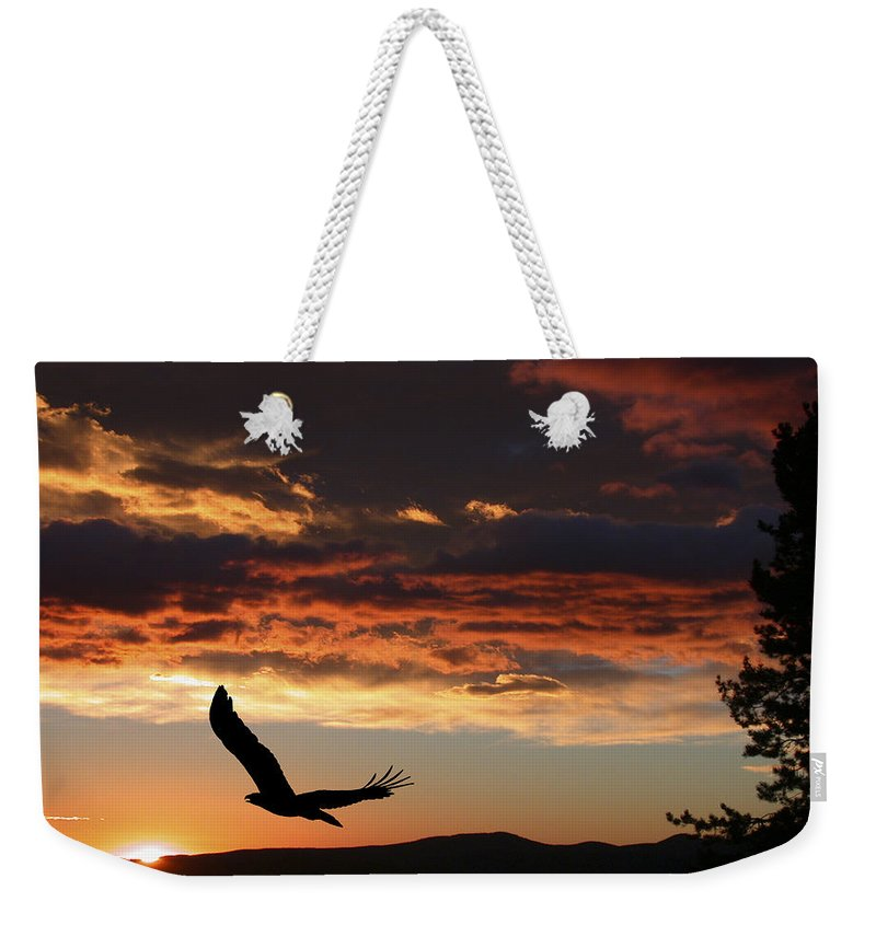 Bald Eagle Weekender Tote Bag featuring the photograph Eagle At Sunset by Shane Bechler