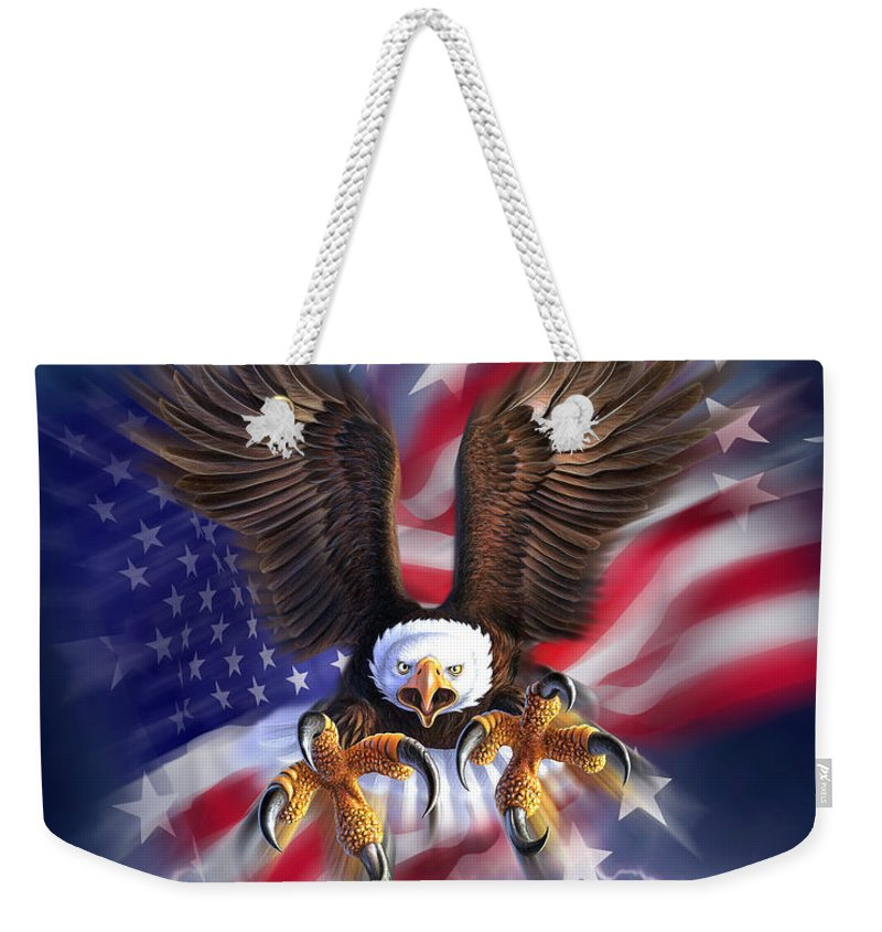 Eagle Weekender Tote Bag featuring the digital art Eagle Burst by Jerry LoFaro
