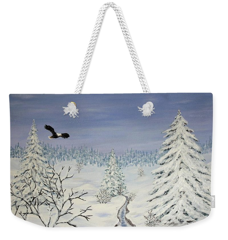 Flying Eagle Acrylic Painting Weekender Tote Bag featuring the painting Eagle On Winter Lanscape by Georgeta Blanaru