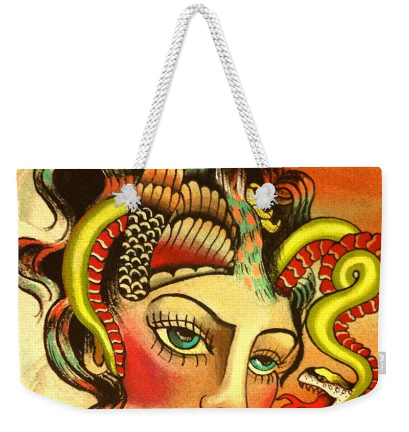 Girl Weekender Tote Bag featuring the painting Eagle/snake Hat by Britt Kuechenmeister