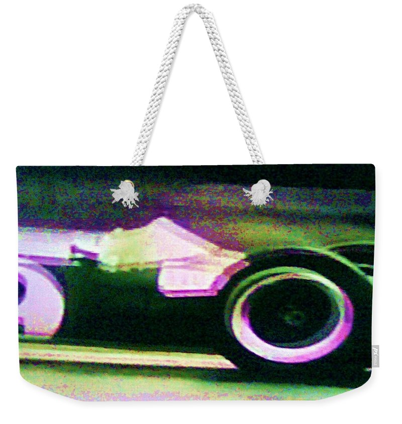 Formula 1 Racing Weekender Tote Bag featuring the photograph Early 60's F1 Racer by George Pedro