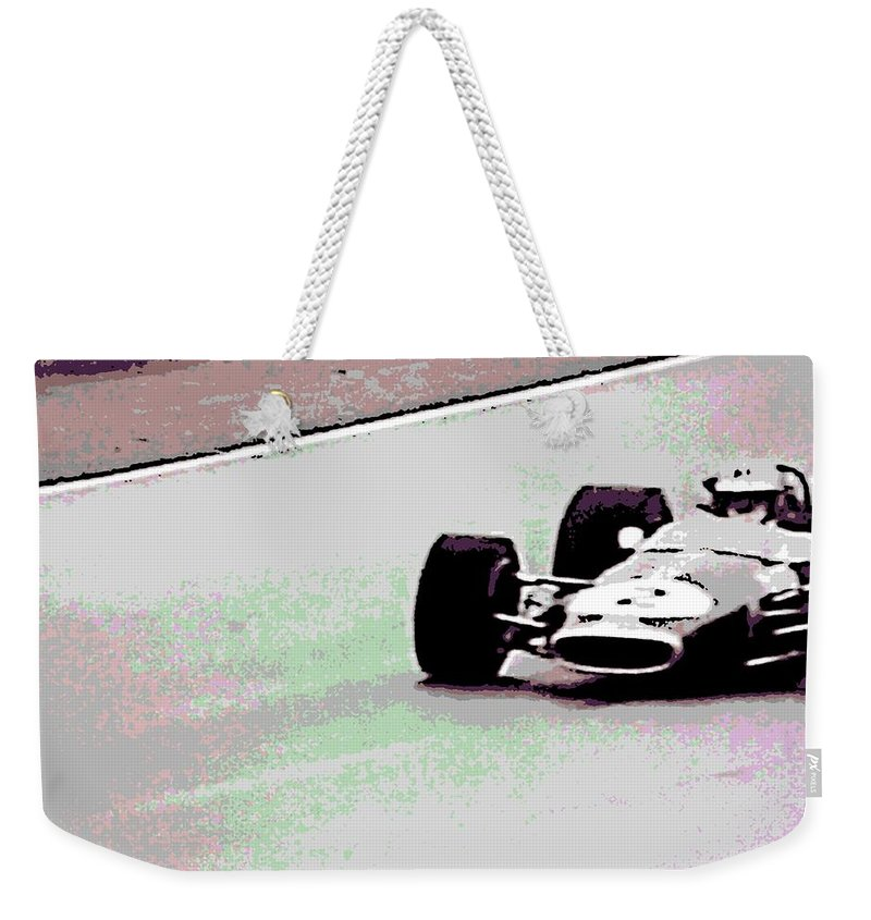 Formula 1 Racing Weekender Tote Bag featuring the photograph Early 60's Fun In A Formula 1 Race by George Pedro