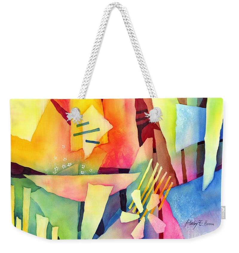 Abstract Weekender Tote Bag featuring the painting Early Bloomers by Hailey E Herrera