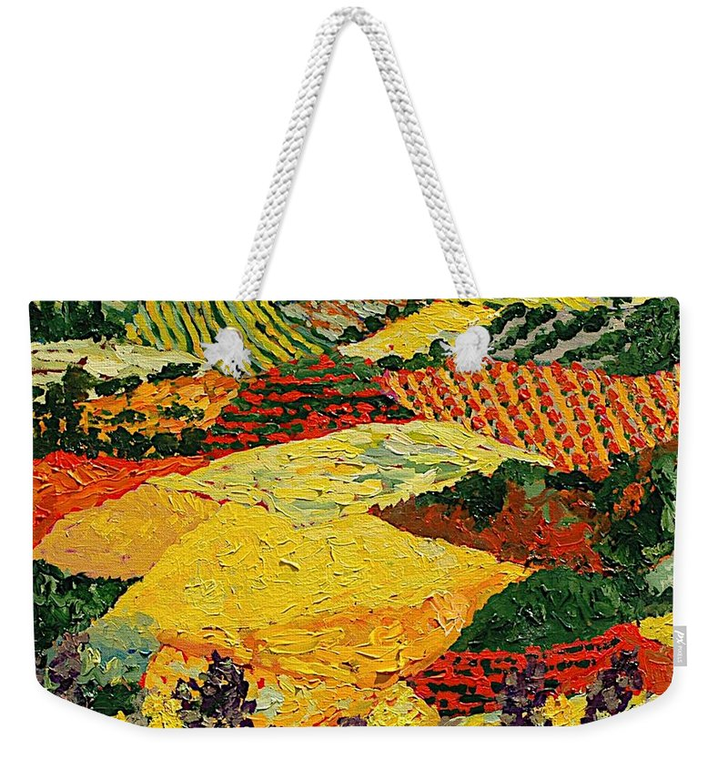 Landscape Weekender Tote Bag featuring the painting Early Clouds by Allan P Friedlander