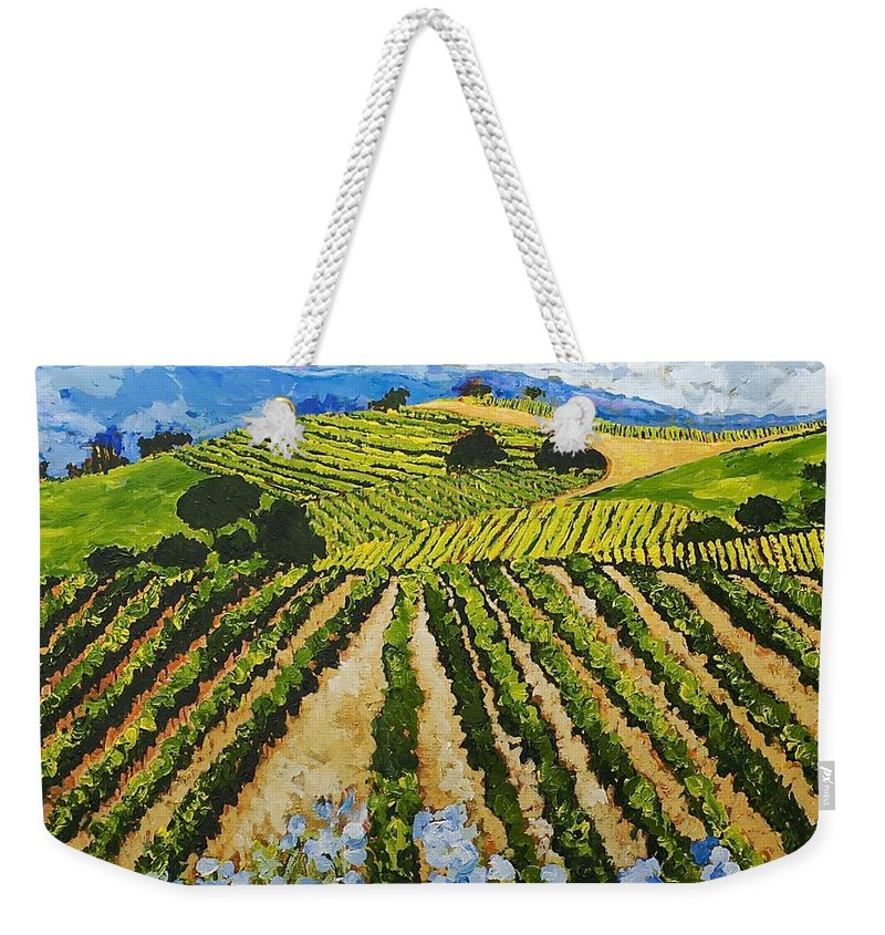 Landscape Weekender Tote Bag featuring the painting Early Crop by Allan P Friedlander