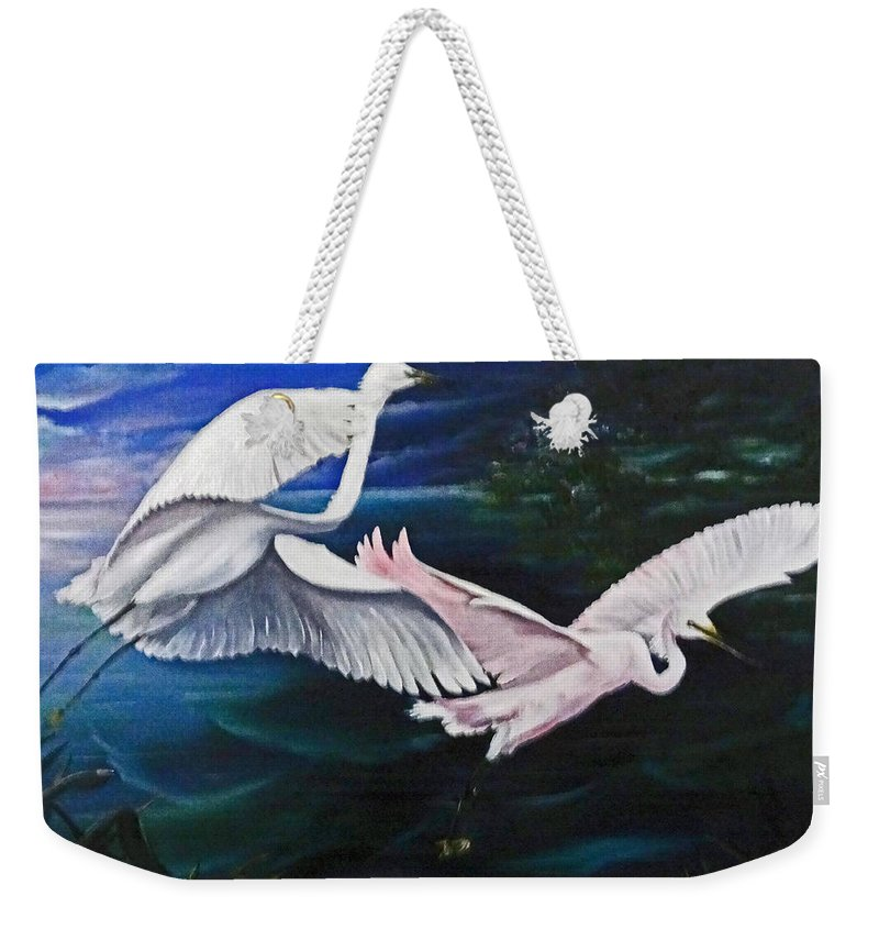 Snowy Egrets Weekender Tote Bag featuring the painting Early Flight by Karin Dawn Kelshall- Best