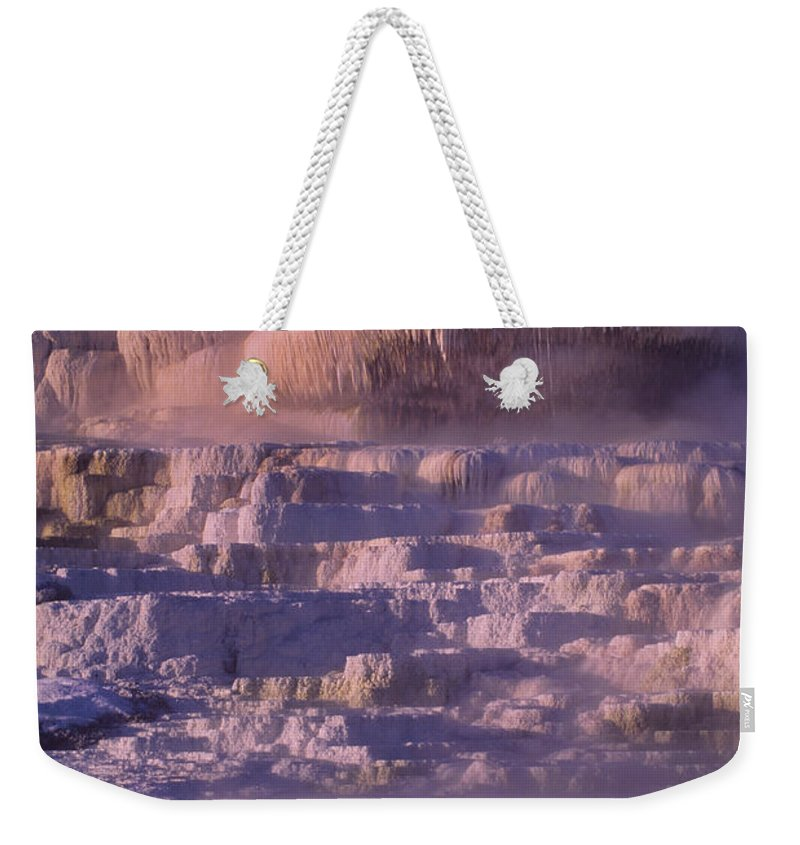 North America Weekender Tote Bag featuring the photograph Early Morning Light On Minerva Springs Yellowstone National Park by Dave Welling