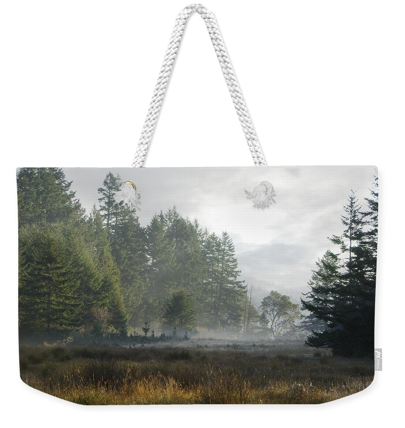 Misty Meadow Weekender Tote Bag featuring the photograph Early Morning Mist by Marilyn Wilson
