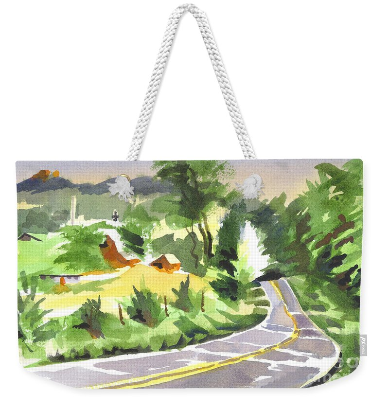 Early Morning Out Route Jj Weekender Tote Bag featuring the painting Early Morning Out Route Jj by Kip DeVore