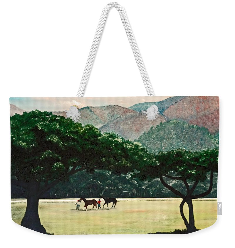 Trees Weekender Tote Bag featuring the painting Early Morning Savannah by Karin Dawn Kelshall- Best