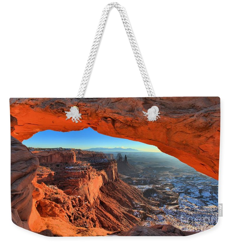 Mesa Arch Sunrise Weekender Tote Bag featuring the photograph Early Morning Surprise by Adam Jewell