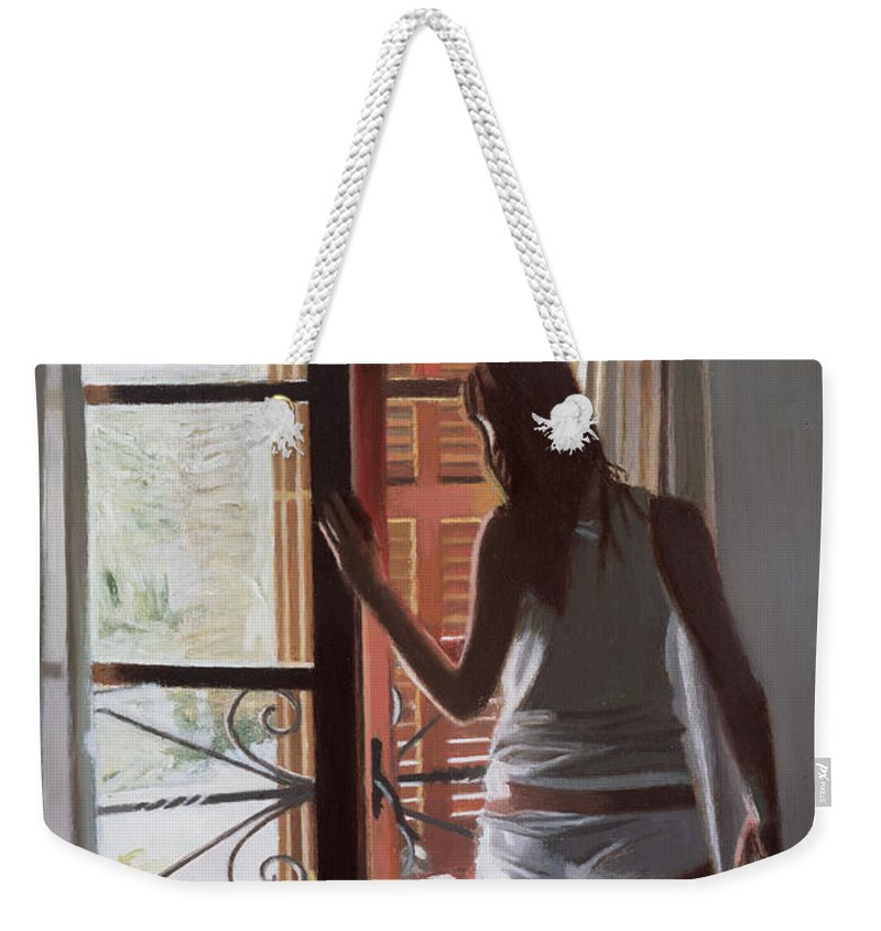 Majorca; Interior; Bedroom; Bed; Waking Up; Female; Underwear; Back View; Window; Awakening; Getting Up; Dressing; Summer; Curtain Weekender Tote Bag featuring the painting Early Morning Villa Mallorca by Gillian Furlong
