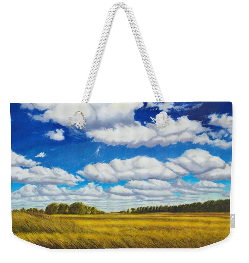Wheat Weekender Tote Bag featuring the painting Early Summer Clouds by Leonard Heid