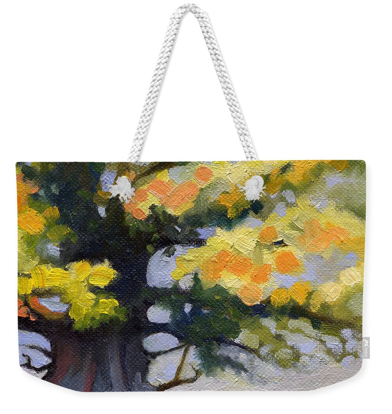 Oak Weekender Tote Bag featuring the painting Earlysville Virginia Ancient White Oak by Catherine Twomey