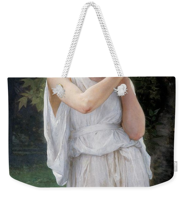 Boucles D'oreilles; Earrings; Jewellery; Beauty; Female; Portrait; Standing; Outdoors; Robe; White Dress; Gown; Three-quarter Length; Young; Girl; Landscape; Grecian; Neoclassical; Neo-classical; Neo Classical; Vanity; Wistful; Thoughtful; Daydreaming; Earring; Drapery Weekender Tote Bag featuring the painting Earrings by William Adolphe Bouguereau