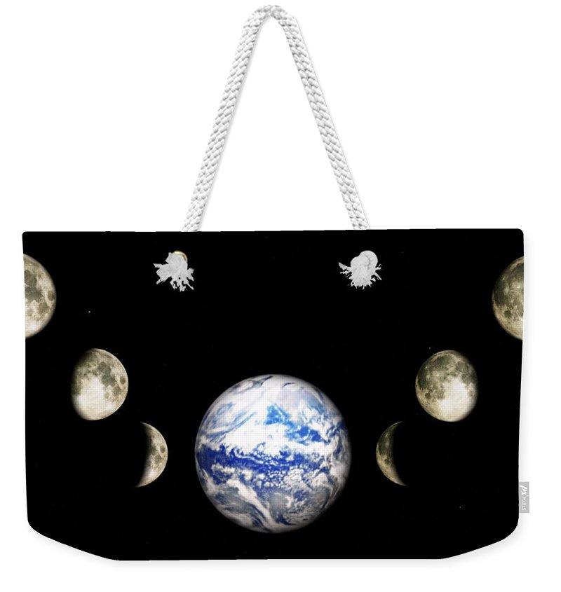 Earth Weekender Tote Bag featuring the digital art Earth And Phases Of The Moon by Bob Orsillo