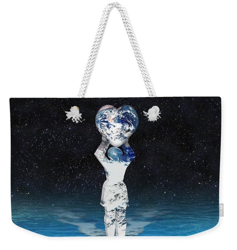 Surreal Weekender Tote Bag featuring the digital art Earth Heart Holder by Gravityx9 Designs