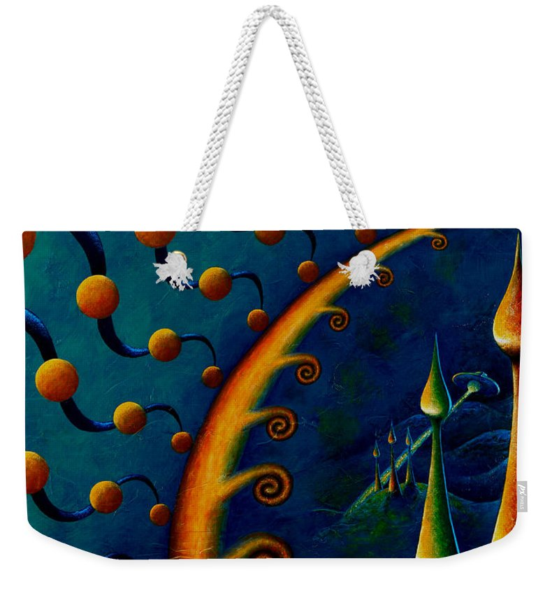 Native American Weekender Tote Bag featuring the painting Earth Horizon 2010 by Kevin Chasing Wolf Hutchins