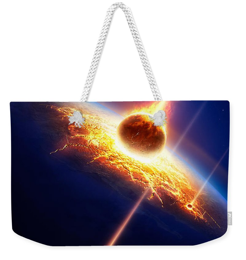 Earth Weekender Tote Bag featuring the photograph Earth In A Meteor Shower by Johan Swanepoel