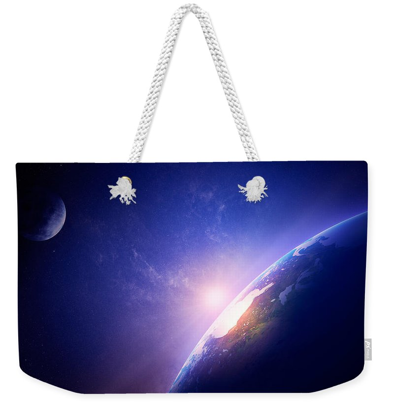 Earth Weekender Tote Bag featuring the photograph Earth Sunrise In Foggy Space by Johan Swanepoel