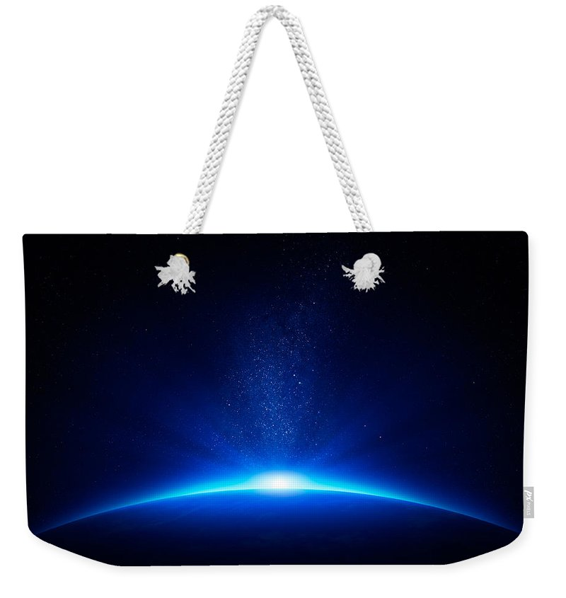 Earth Weekender Tote Bag featuring the photograph Earth Sunrise In Space by Johan Swanepoel