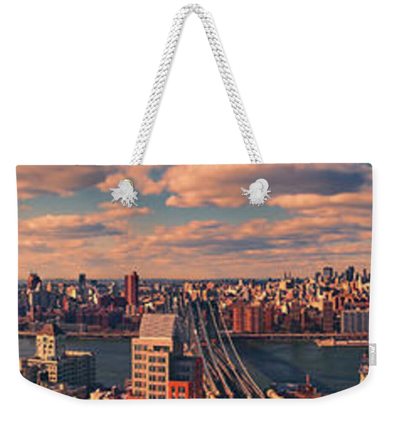 East River Panorama Weekender Tote Bag featuring the photograph East River Bridges by S Paul Sahm