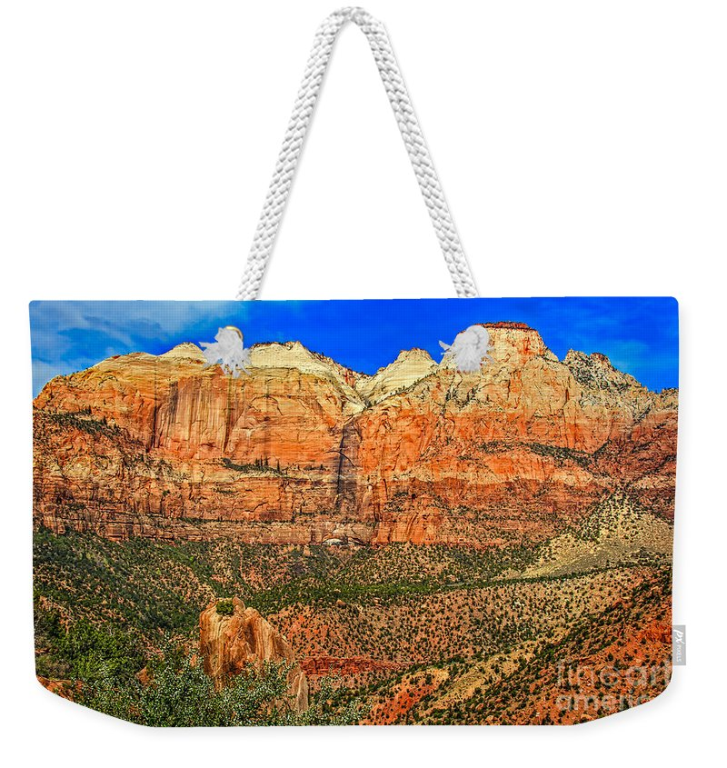 Zion National Park Weekender Tote Bag featuring the photograph East Temple by Robert Bales