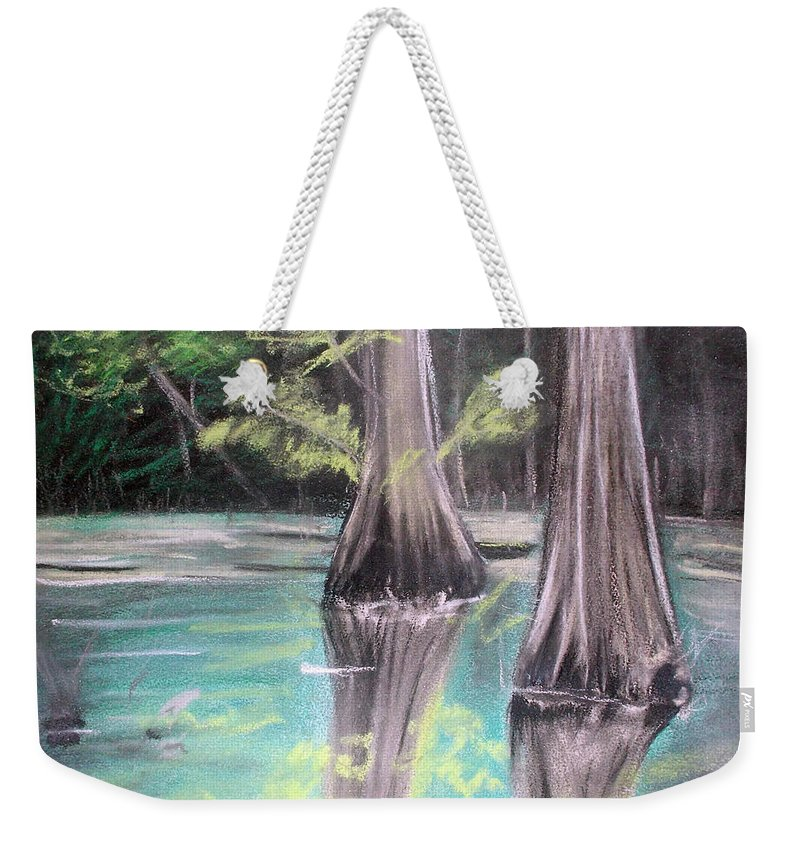Texas Weekender Tote Bag featuring the pastel East Texas Cyprus In Pastels by Shere Crossman