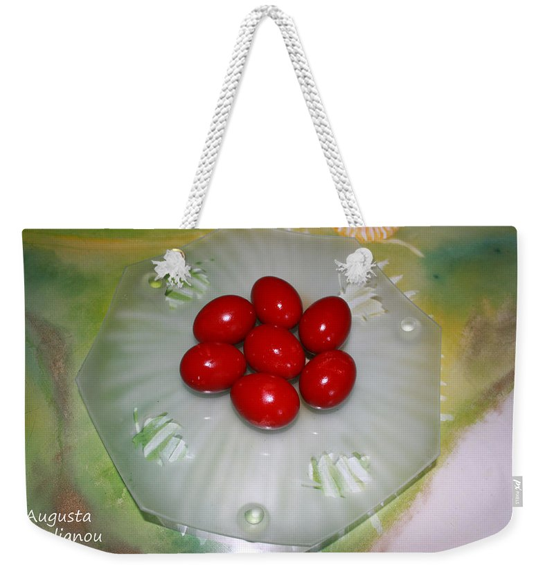 Augusta Stylianou Weekender Tote Bag featuring the photograph Easter And Red Eggs by Augusta Stylianou