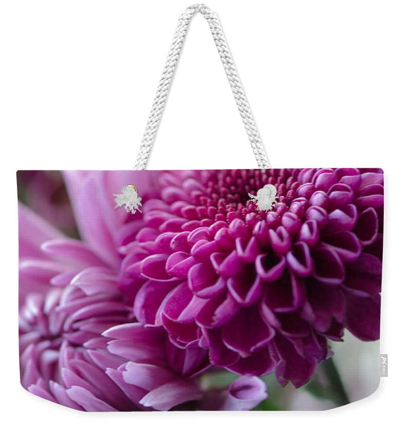 Mums Weekender Tote Bag featuring the photograph Easter Bouquet Flowers Mums And Dahlia by Michael Moriarty