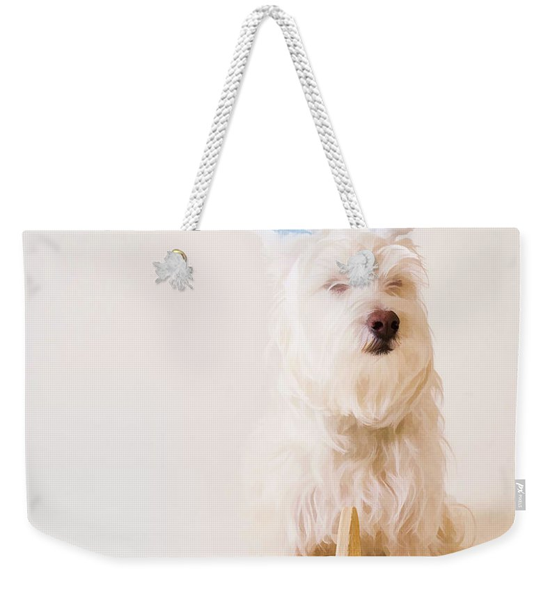 Funny Weekender Tote Bag featuring the photograph Easter Bunny Westie by Edward Fielding