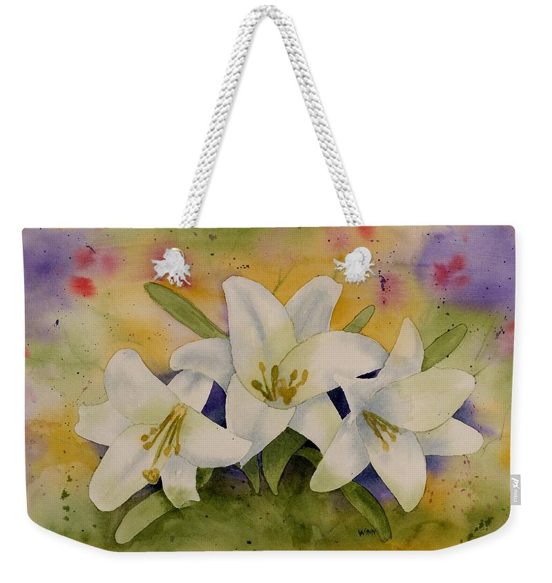 Watercolor Weekender Tote Bag featuring the painting Easter Lilies by Brett Winn