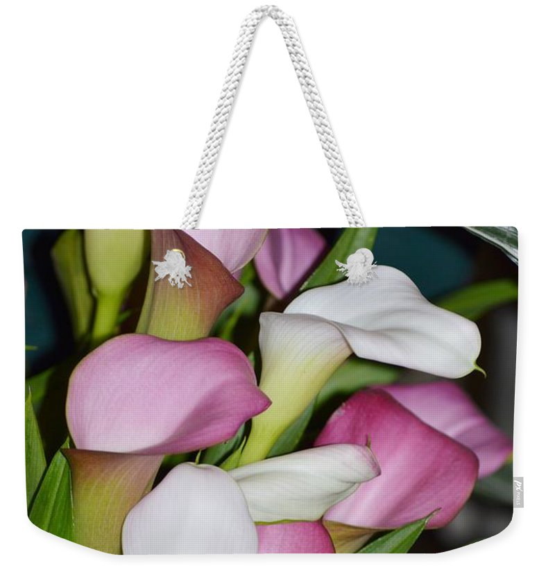 Calla Lily Weekender Tote Bag featuring the photograph Easter Lilies by Sonali Gangane