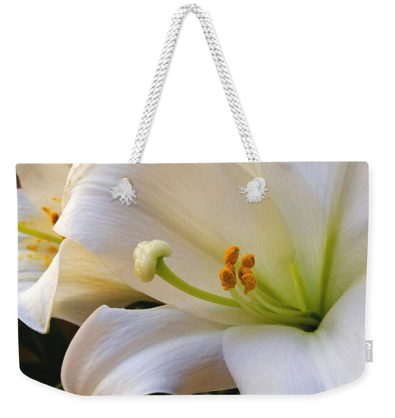 Easter Lilly Weekender Tote Bag featuring the photograph Easter Lily by Bonnie Willis