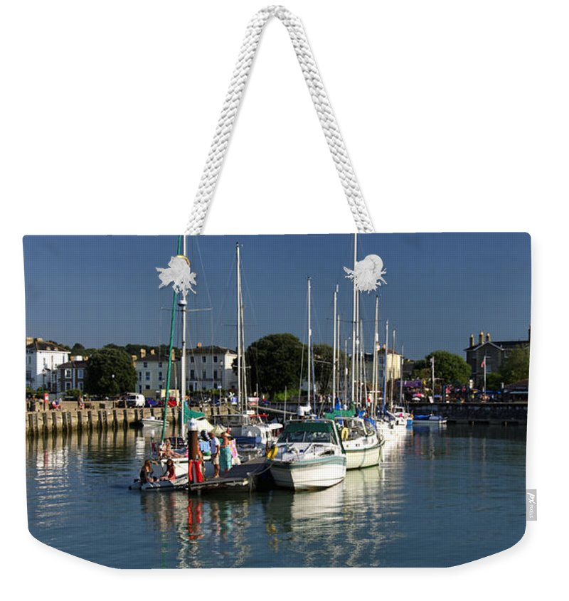 Britain Weekender Tote Bag featuring the photograph Eastern Side Moorings - Ryde Harbour by Rod Johnson