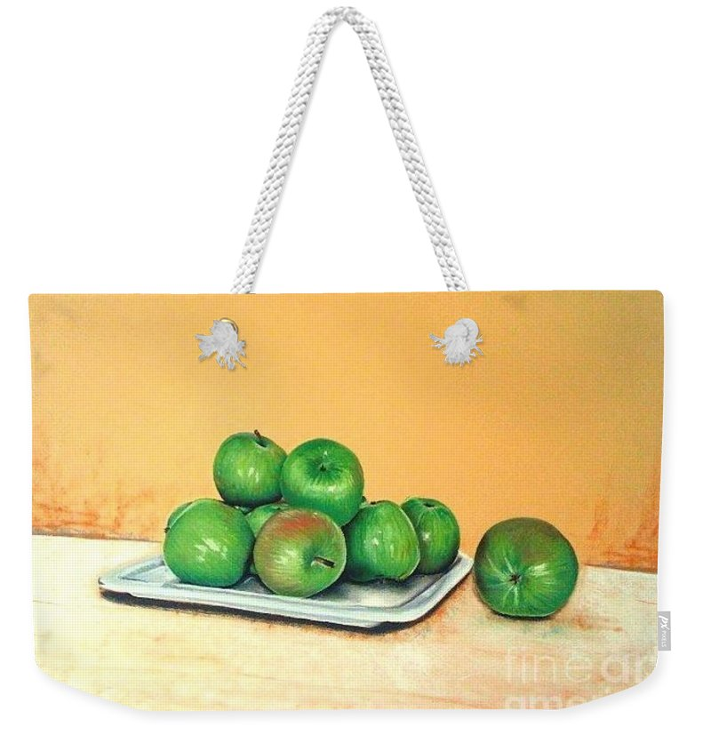 Apples Weekender Tote Bag featuring the pastel Eat Green by Katharina Filus