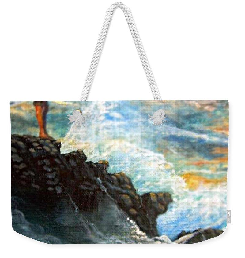 Eddie Aikau World Famous Surfer At Waimea Bay Weekender Tote Bag featuring the painting Eddie Aikau by Leland Castro