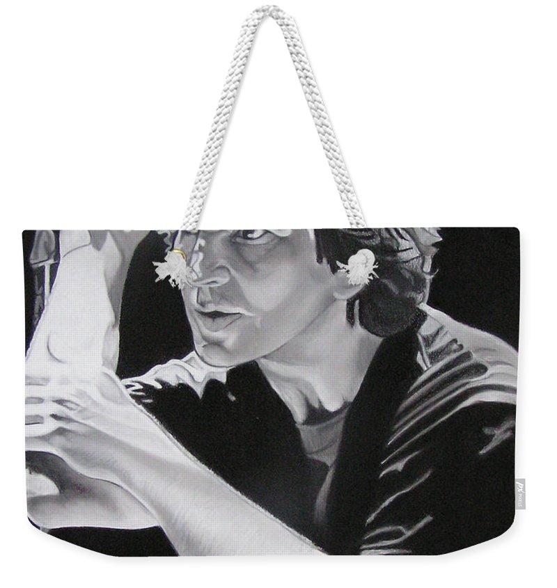 Eddie Vedder Weekender Tote Bag featuring the drawing Eddie Vedder Black And White by Joshua Morton