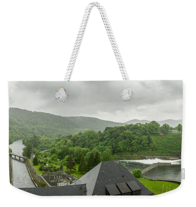 Dambusters Weekender Tote Bag featuring the photograph Below The Eder Dam by Gary Eason